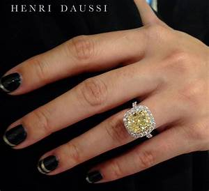 Henri daussi fancy yellow cushion cut diamond ring gyuru for Wedding rings with yellow diamonds