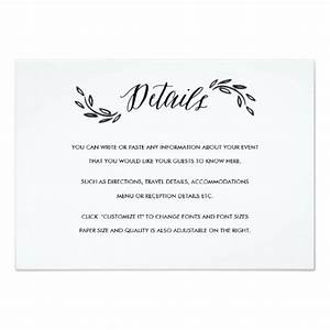 watercolor woodland wedding insert details card woodland With wedding invitation insert sizes