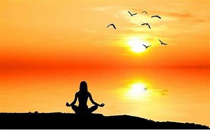 Meditation Benefits Nature Silhouette Background Contemplation Sunrise
