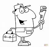 Plumber Coloring Clipart Guy Drawing Driver Plumbing Colouring Taxi Svg Paper sketch template