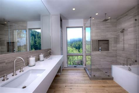 Contemporary Master Bathroom with Flat panel cabinets by
