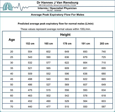 Assess Peak Flow Meter Chart