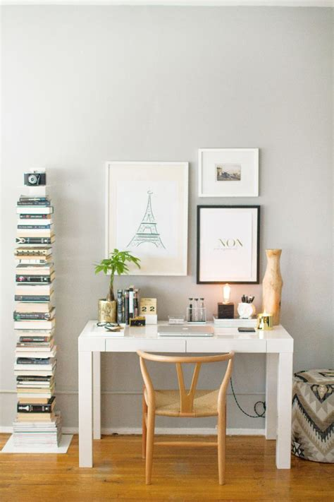 white and gold desk chair how to style a west elm parsons desk white lacquer