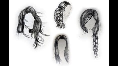 Girl Hair Drawing How To Draw Female Hairstyles For Beginners Youtube