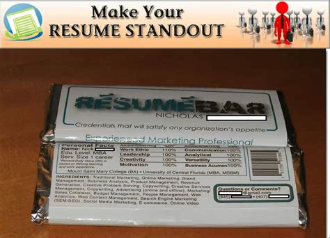 Chocolate Bar Resume by Bar Wrapper Resume