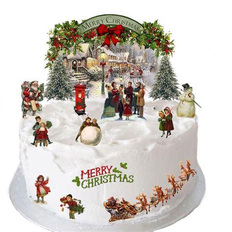 vintage traditional christmas edible wafer card cake