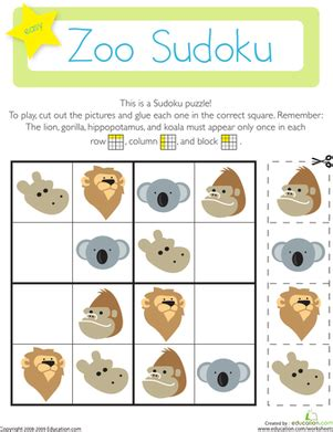 zoo sudoku worksheet education