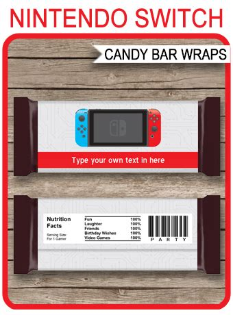 nintendo switch theme candy bar wrappers video game