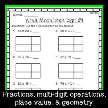 grade math worksheet bundle fractions place