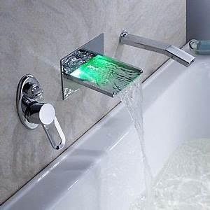 Waschbecken Armatur Mit Ausziehbarer Brause : led wasserfall badewanne wasserhahn mit ausziehbarer brause wandmontage badezimmer ~ Watch28wear.com Haus und Dekorationen