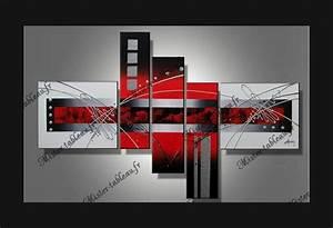 Tableau Moderne Noir Et Blanc : tableau moderne blanc rouge ~ Teatrodelosmanantiales.com Idées de Décoration