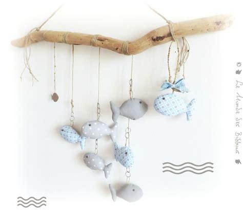 couture deco chambre bebe décoration chambre d 39 enfant poissons bleu et gris supendus