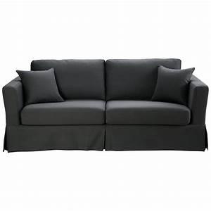 3 Sitzer Sofa : ausziehbares 3 sitzer sofa aus baumwolle schiefergrau royan royan maisons du monde ~ Frokenaadalensverden.com Haus und Dekorationen