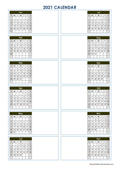 blank yearly calendar template vertical design