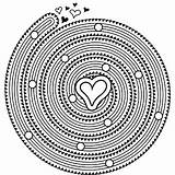 Coloring Spiral Mandala Printable Pages Heart M100 Hearts Unique sketch template