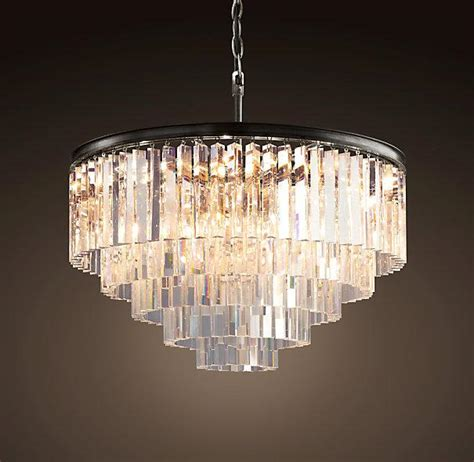 tiered odeon glass fringe  ring chandelier