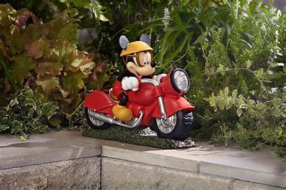 Motorcycle Mickey Solar Garden Disney Decor Ornaments