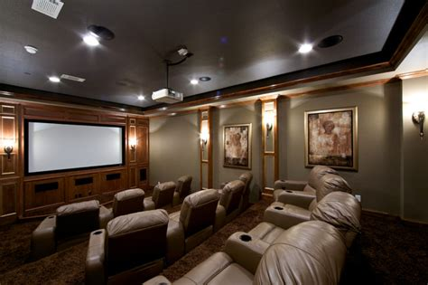 converted garage to media room traditional home
