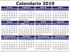 Español Calendario 2019 Horizontal Arte vectorial Thinkstock