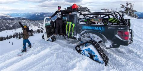 Ken Block Likes to Snowboard... with a Ford Raptor Trax Truck