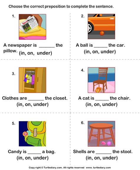 complete the sentences using in on and 3 worksheet