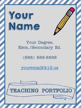 editable teaching portfolio template blue stripes