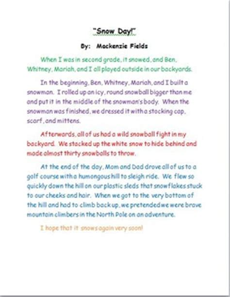 snow day sample personal narrative teacher modeling tool