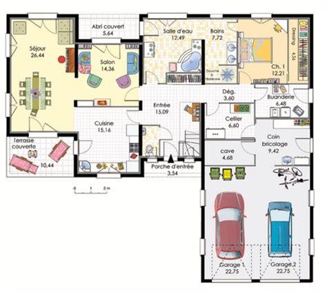 plan maison plain pied 2 chambres garage plan maison plain pied 2 garages