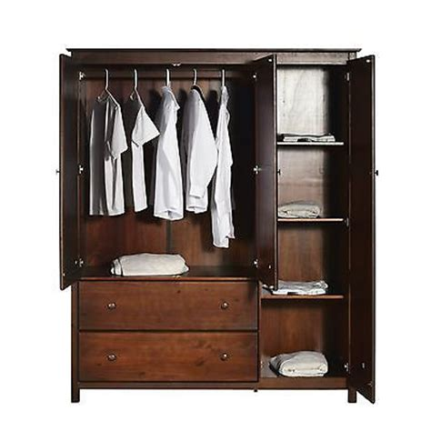 solid wood wardrobe closet armoire clothes hanging shelf