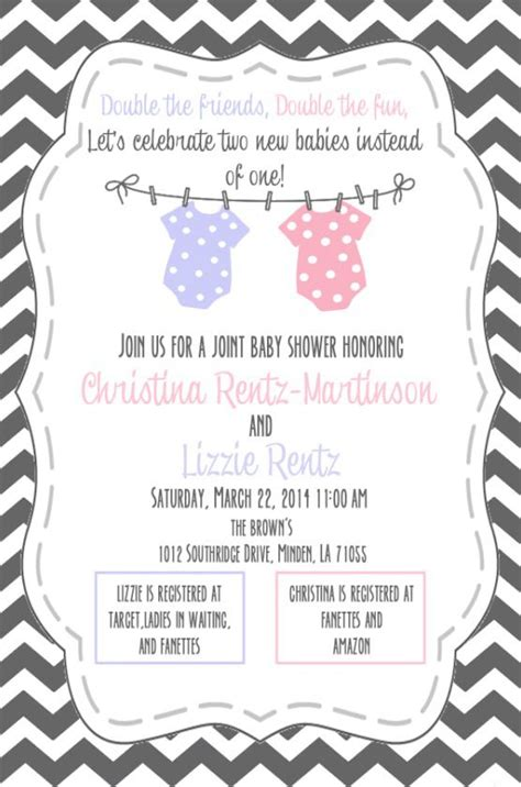 double baby shower invitation  mary catherine brown