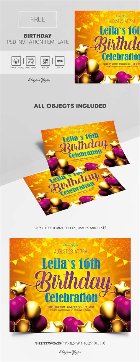 Free Birthday Invitation PSD Template by ElegantFlyer