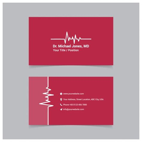 red medical business card template vector