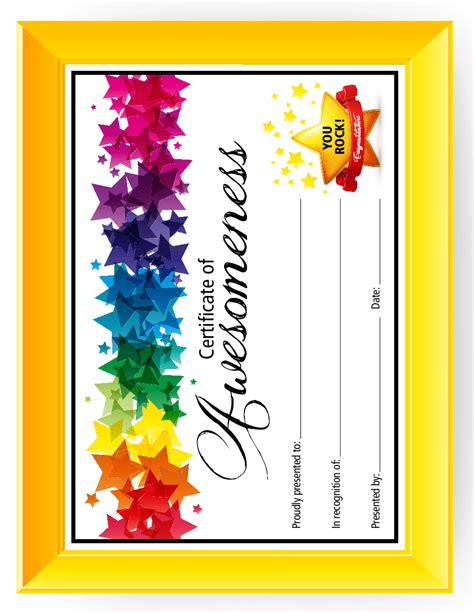certificate  awesomeness templates  kids printable