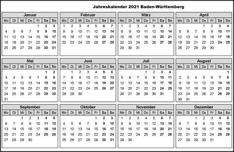 Kalenders zijn leeg en kunnen worden afgedrukt met voorgedefinieerd afdrukbereik. Jahreskalender 2021 Baden-Württemberg Mit Feiertagen | The Beste Kalender