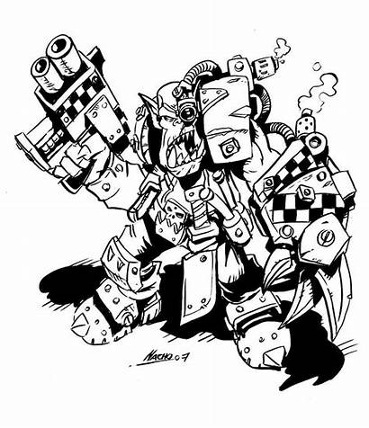 Ork Space Warhammer Nachomon Colouring Pages Cartoon