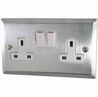 Chrome Satin Socket Double Deco Plate Switched