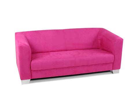 Chicago Sofa Couch 3-sitzer Pink Rosa Punte Stoff