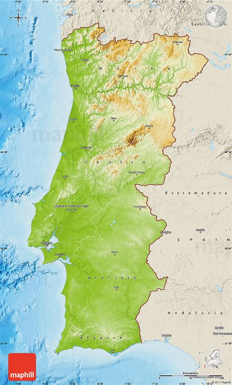 physical map  portugal shaded relief