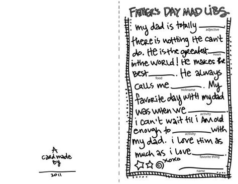 Father's Day Mad Libs Card For Your Kiddos To Fill-in And