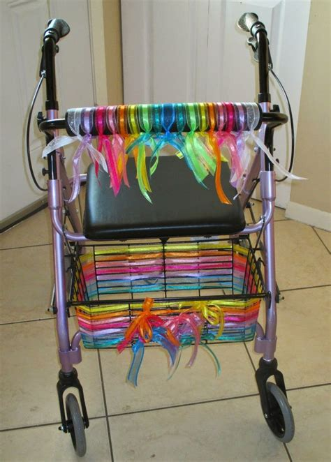 walker decorated walking mobility aids canes walkers seniors diy pimped crutches basket handicap accessories into wheelchairs mesh rollator them ribbon