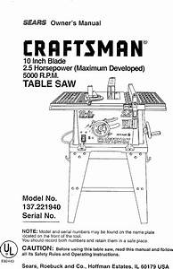 Craftsman 137221940 User Manual Table Saw Manuals And