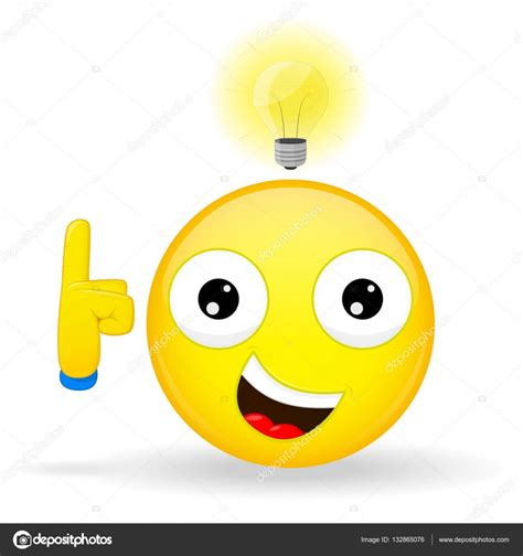 I Have An Good Idea Emoji. Emotion Of Happiness. Emoticon