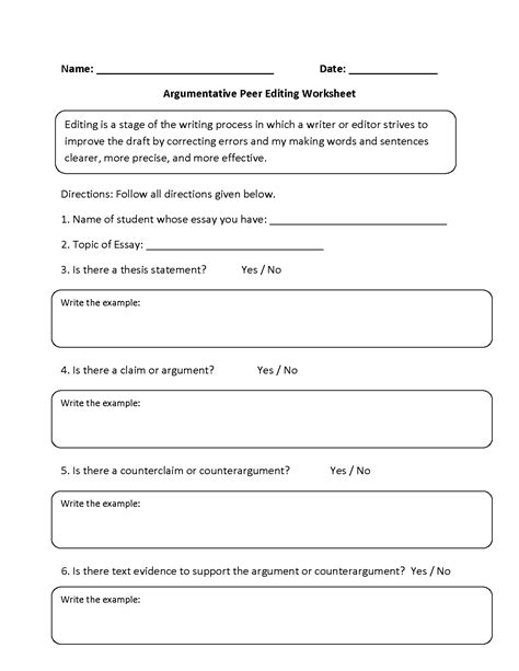 Peer Editing Worksheet For Persuasive Essay Bamboodownundercom