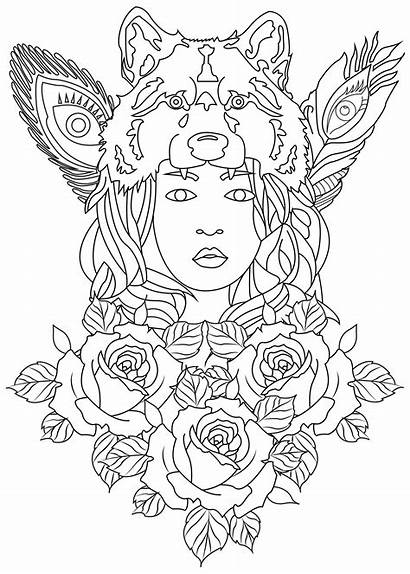 Coloring Wolf Woman Pages Drawing Adults Rose