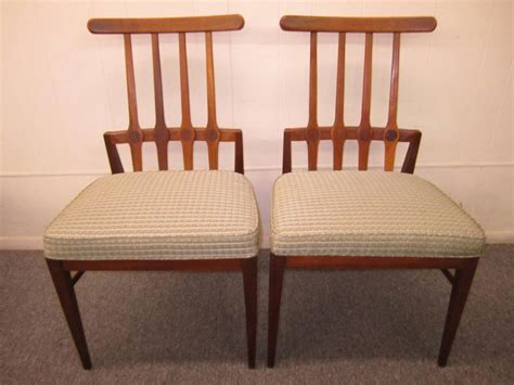 Set Of Six Harvey Probber Style Walnut Dining Chairs Mid