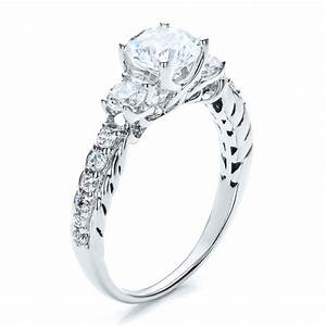 brilliant cut three stone engagement ring vanna k 100083 With three stone wedding ring
