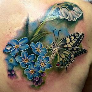 50 Butterfly tattoos with flowers for women | Butterfly ...