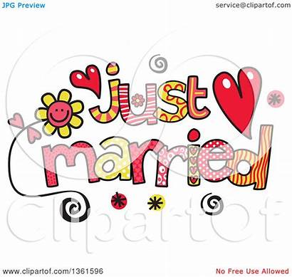 Married Word Clipart Royalty Colorful Sketched Illustration