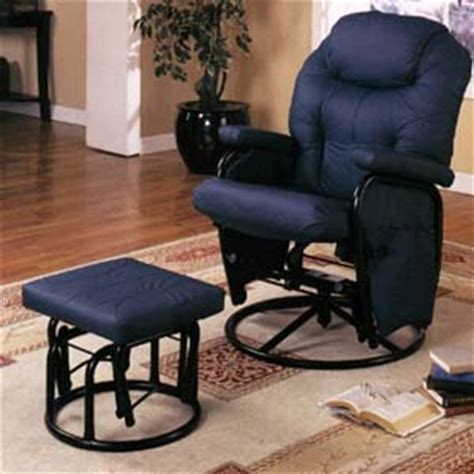 recliner chairs and ottomans navy blue glider rocker 7298