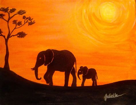 elephant silhouette sunset painting photography by julielle painting